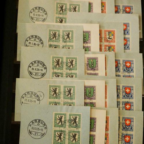 SUISSE Emissions 1905/1938 : Très intéressant lot de timbres oblitérés, en blocs…