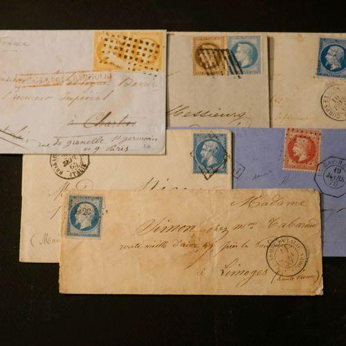 FRANCE Emissions 1854/1873 ARMEES, MARITIMES : 6 lettres dont paire du 10c N°13 …