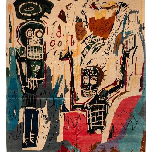 Tapis moderne contemporain XXème, carton d'après Jean Michel Basquiat (1960 1988…