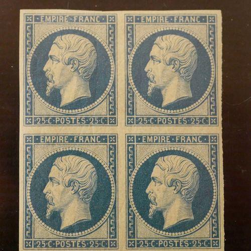 FRANCE Emissions 1854 : REIMPRESSION du 25c bleu N°15d Yvert, en bloc de quatre.…