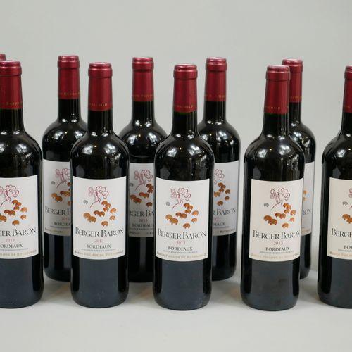 11 bouteilles Berger Baron Philippe de Rothschild, Bordeaux, 2013