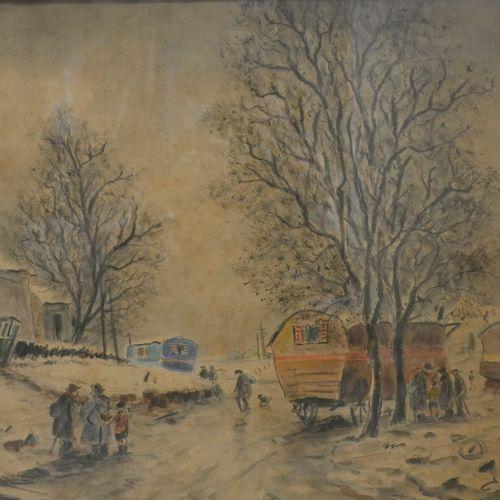 Edouard Febvre (1885 1967). Montmartre, le maquis sous la neige, aquarelle, fusa…