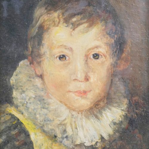 法国学校,20世纪初。拿着草莓的男孩。布面油画。34,5x25,5厘米。