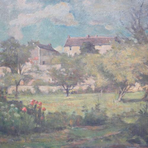 19世纪的法国学校。有树的房子。布面油画,60 x 73厘米。(事故)