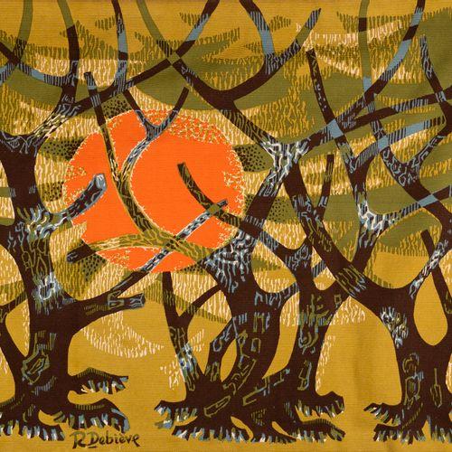 Robert DEBIEVE (1926 1994), L'oliveraie. Tapisserie imprimée et éditée par Corot…