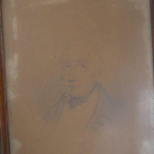 19世纪的法国学校。一个人的肖像。铅笔和水彩画。15 x 15厘米左右。