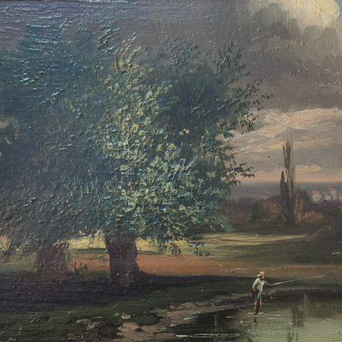 19世纪的法国学校。渔夫。板上油彩。15,5x22厘米。木质框架,意外的框架