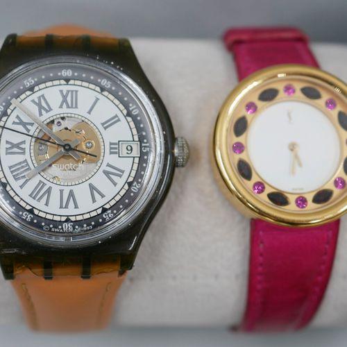 Lot de sept montres fantaisie SWATCH, YVES SAINT LAURENT, USS FESTINA et une mon…