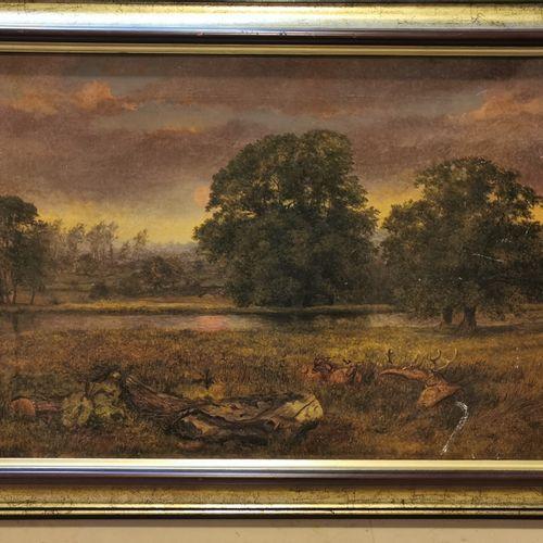 R.LEDIE.在河边休息的母鹿。板上油彩。右下角有签名,日期为1869年。 36,5 x 61,5 cm
