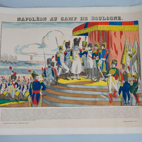 显示拿破仑在布洛涅的雕版画。