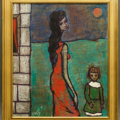LOVY (XXe). La femme à l'enfant. Acrylique sur toile. Signée en bas à gauche 55 …