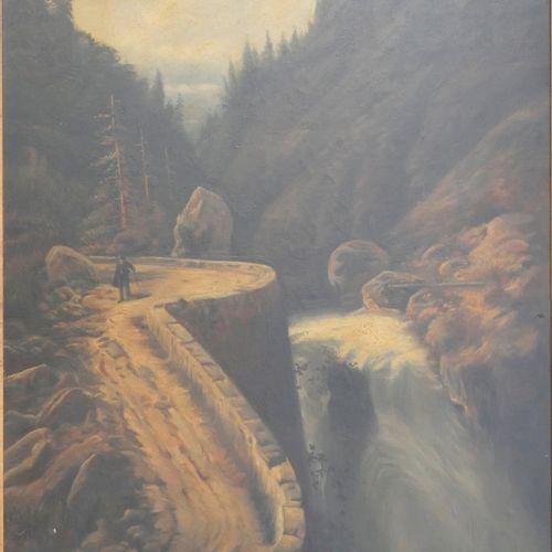 20世纪的法国学校。有瀑布的景观。布面油画。100 x 75厘米