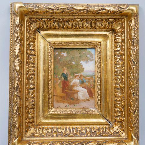 19世纪的法国学校。花园里优雅的女人。板上油彩。14 x 10厘米。在一个美丽的镀金框架中。(Chips)