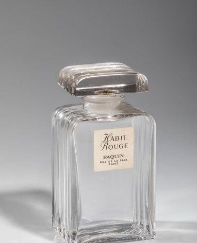 """PAQUIN """"Habit Rouge"""" Flacon en verre décoré de gaudrons sur chaque côté, étiquet…"""