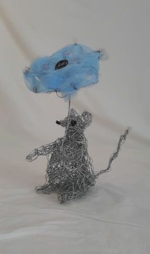 "LAURENT Isabelle ""Mini"" Sculpture realized in galvanized wire and mix and tulle …"