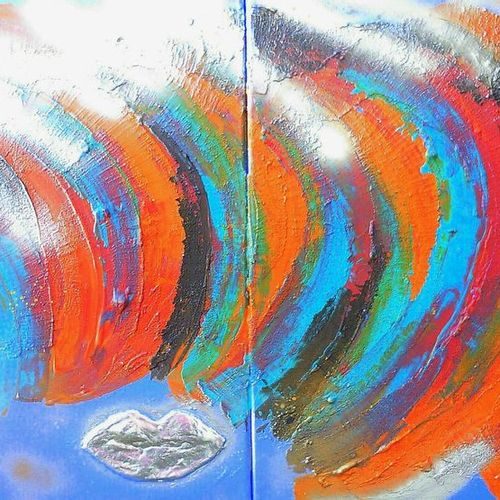 """TOUFET Martine """"New Wave"""" Mixed media on diptych canvas 2 x 50 x 40 cm 80 x 80 c…"""