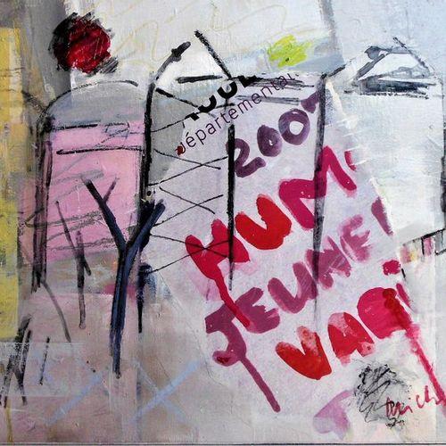 """MICHEL Ute """"Extramuros"""" Acrylique et collages sur toile 50 x 40 cm signée.    Fr…"""