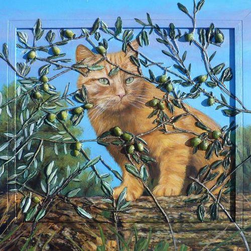 """TRABAUD Virginie """"Le chat aux olives"""" Acrylique et sculpture en relief 3D au mor…"""