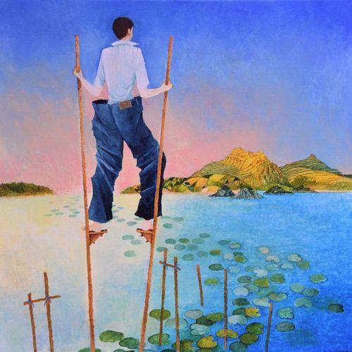 """BLIN Yves """"la chaussée des géants"""" Huile sur toile 50 x 50 cm signée.    Frais d…"""
