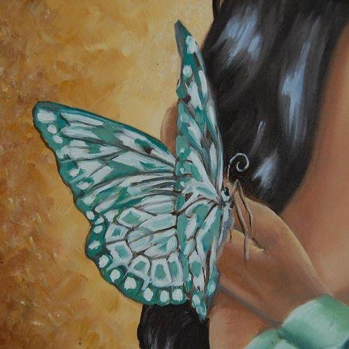 """BOUYSSE Brigitte """"Papillon"""" Huile sur toile 46 x 55 cm signée à gauche.    Frais…"""