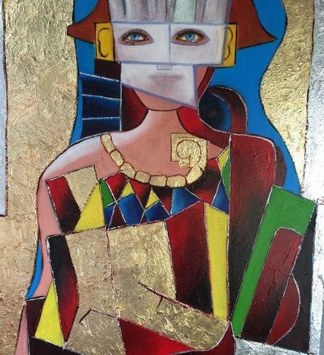 """BREMBOR Georges """"Femme au masque blanc et collier d'or"""" Huile sur toile au coute…"""