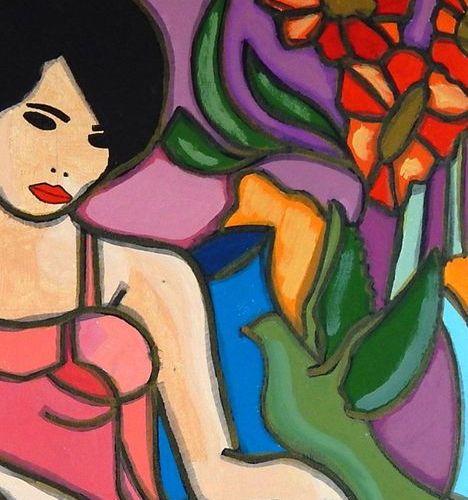 """CLEVE """"Solaine"""" Acrylique sur toile 65 x 50 cm signée    Frais de transport offe…"""