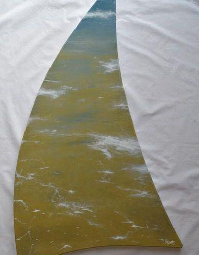 """DAGUAIS """"Voile Océane V"""" Acrylique sur toile au couteau et pinceau 115 x 97 x 61…"""