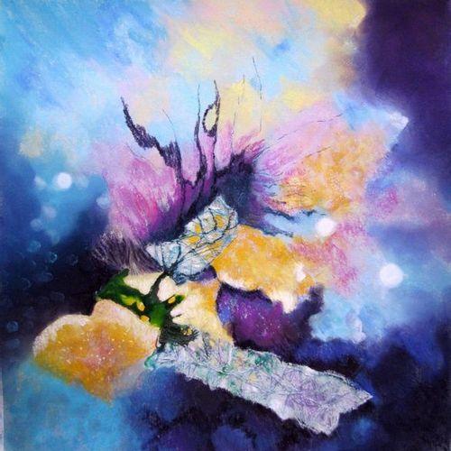 """ALLOSIETTE """"Dans les limbes"""" Pastel et collage de textile naturel 50 x 50 cm sig…"""