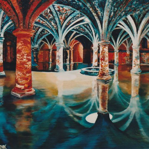 "BAJON ARNAL Christian ""Portuguese Cistern, El Jadida, Morocco"" Oil on wood knife…"