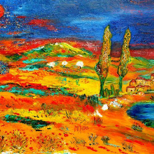 """BUSSET Marie France """"Un Amour de Provence"""" Oil on canvas 65 x 50 cm signed.    F…"""