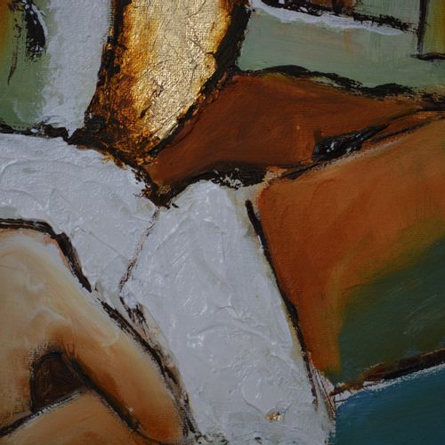 """BREMBOR Georges """"Homage to Picasso 2"""" Oil with knife and brush 80 x 100 cm with …"""