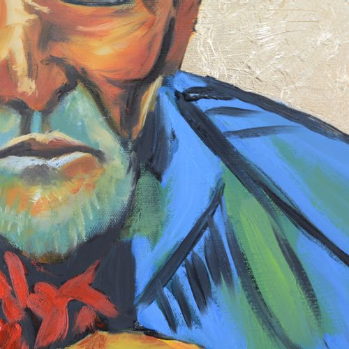 "BREMBOR Georges ""Homage to Van Gogh"" Oil with knife and brush on canvas backgrou…"
