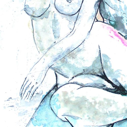 """BRES Monick (née en 1946) """"En couple"""" Colored inks on canvas 70 x 70 cm signed. …"""
