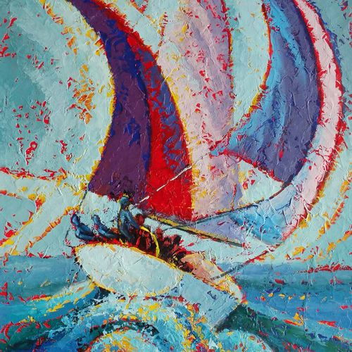 "BERTAUDIERE Nita ""Regatta"" Oil on canvas 55 x 38 cm signed.    Free shipping for…"