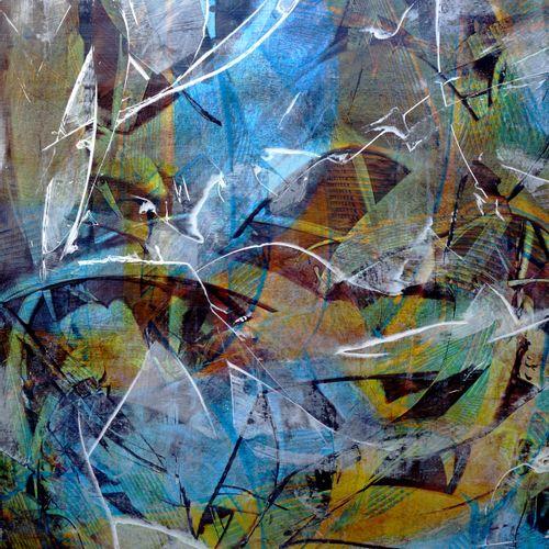 """ALLARD Michel """"Aquatic"""" Acrylic medium waxes on paper mounted on canvas 97 x 130…"""