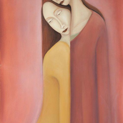 """DISCH Rémy """"Les deux soeurs"""" Huile sur papier marouflée sur toile 126 x 61 cm si…"""