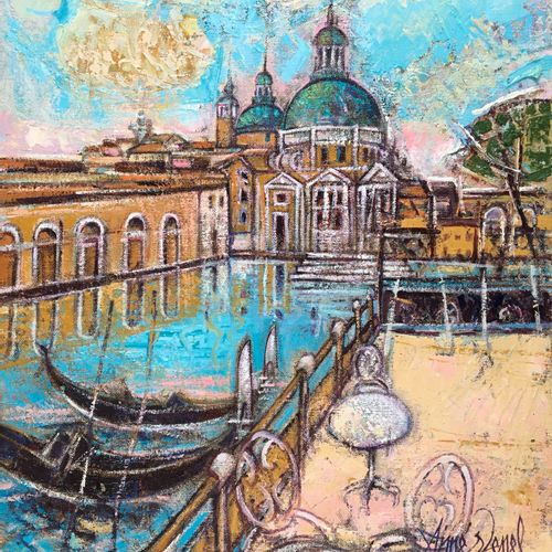 "AIMÉ VENEL ""Chiesa delle Salute"" Oil on canvas 38 x 46 cm signed.    Free shippi…"