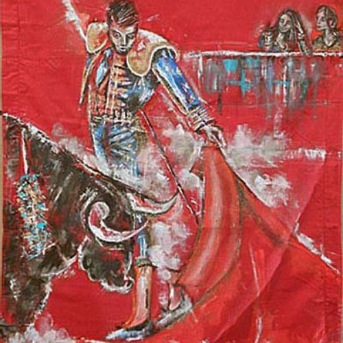 """SENELONGE Laurence """"Worship of the Matador""""  Oil on red fabric with knives and b…"""