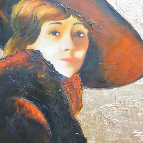 "BREMBOR Georges ""Woman with a hat"" Oil with brush and knife on gold leaf 24 on c…"