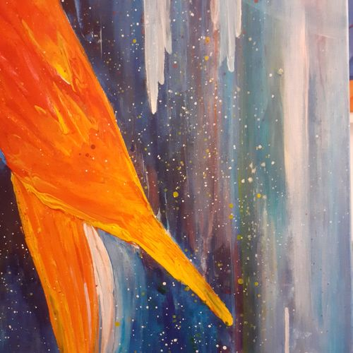 """CHRIS """"Confidences"""" Oil and acrylic knife painting on canvas 50 x 61 cm signed o…"""