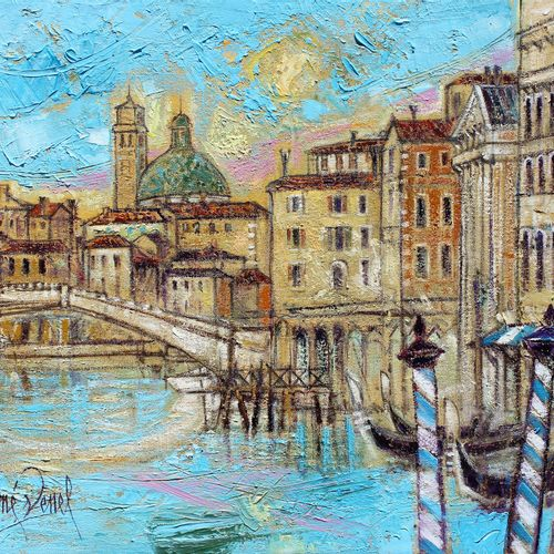 """AIMÉ VENEL """"Venice and its Greens"""" Oil on canvas 55 x 46 cm signed.    Free ship…"""