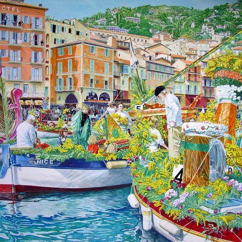 """BERTHOUMIEUX Denise """"La Fête de la Mer"""" Gouache 60 x 68 cm signed.  Mimosas, tra…"""