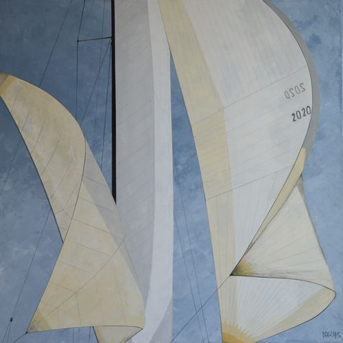 """DAGUAIS """"Voiles 06"""" Acrylic on linen canvas made with knife and brush 80 x 80 cm…"""