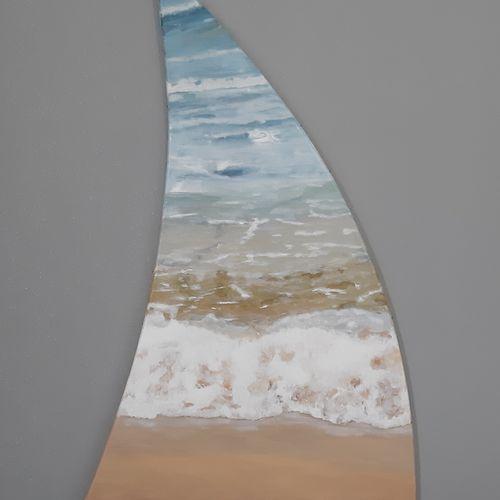 """DAGUAIS """"Voile Océane VI"""" Acrylique sur toile au couteau et pinceau 115 x 97 x 6…"""