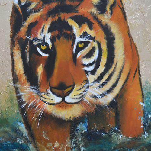 """BREMBOR Georges """"Le Tigre"""" Huile au couteau et pinceau sur toile fond travail de…"""
