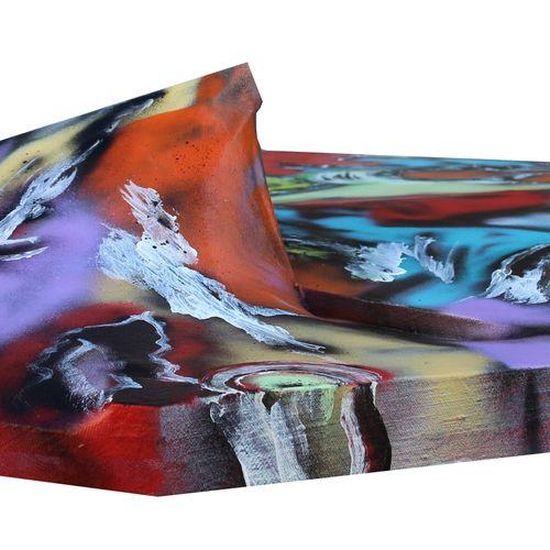 """KARLY ET ANNE V """"Raging"""" Acrylique sur toile en volume 115 x 90 x 17cm signée au…"""