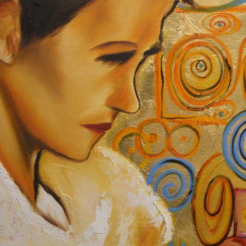 """BREMBOR Georges """"Profil de femme"""" Huile sur toile au pinceau et couteau sur feui…"""
