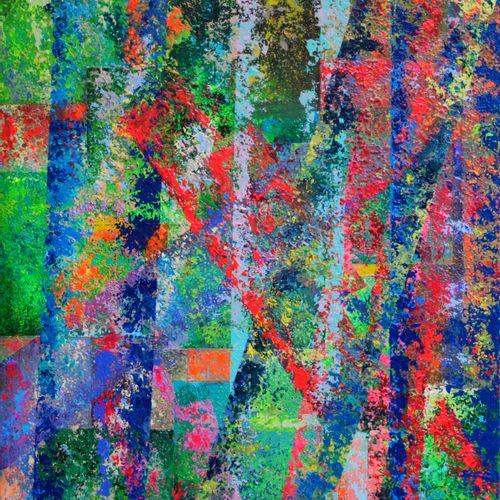 """DARDEAU Monique """"Synphonie marine"""" Acrylique sur toile 81 x 65 cm signée.    Fra…"""