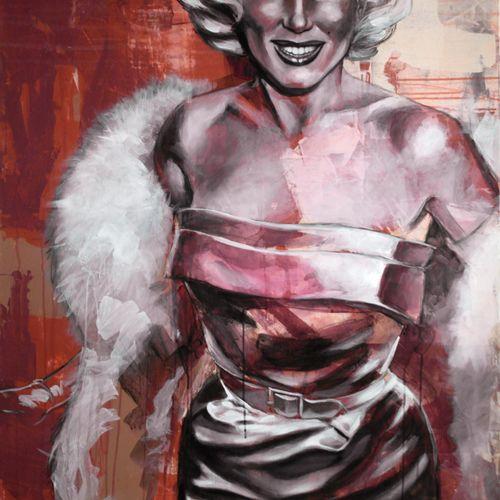 """DELAGACHETTE """"Marylin""""  Acrylique sur toile  Format 140 x 100 x 3.5 cm  Signé au…"""
