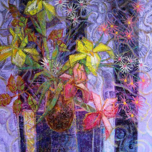 """AIMÉ VENEL """"Bouquet d'iris aux asters"""" Huile sur toile 50 x 61 cm signée.    Fra…"""